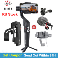 RU Stock MOZA Mini S Foldable 3 Axis Handheld Gimbal Stabilizer for IOS10.0 iPhones Andriod 8.1 Smart Phones Gopro 5/6/7