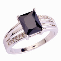 2015 Unique Design Black Spinel 925 Silver Ring Size 6 7 8 9 10 11 12 New Fashion Jewelry For Women Free Shipping Wholesale