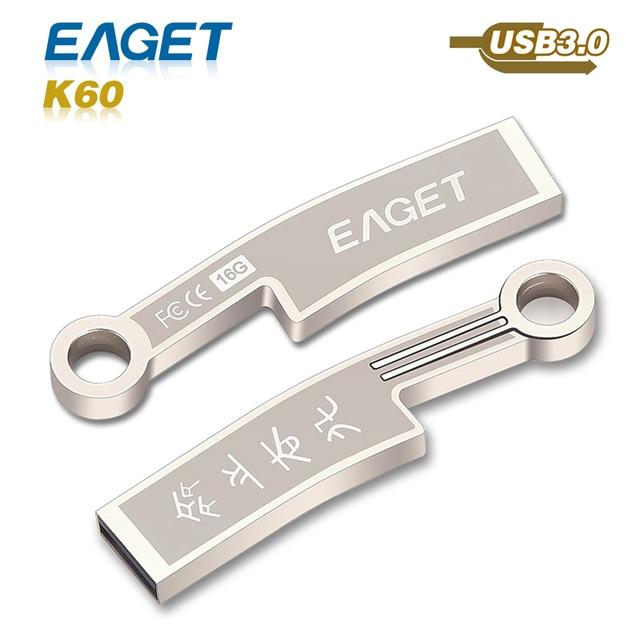 usb flash drive 3.0 Eaget K60 usb 3.0 pass h2test 16GB 32GB 64GB  pen drive waterproof shockproof External Storage pendrive
