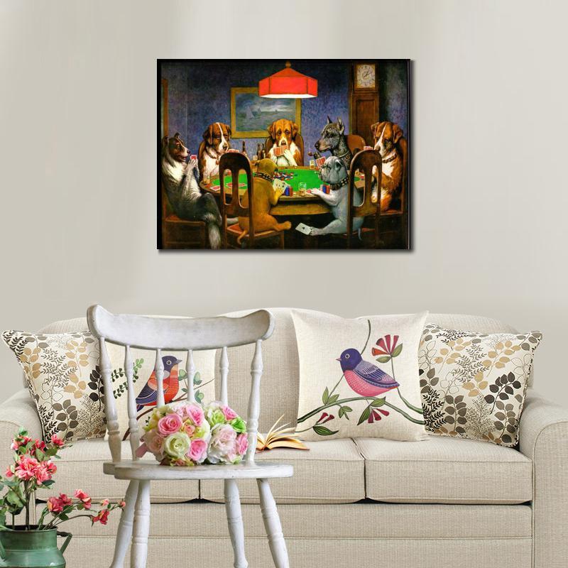 Կտավ արվեստի յուղաներկ շներ Playing Poker by - Տնային դեկոր - Լուսանկար 4