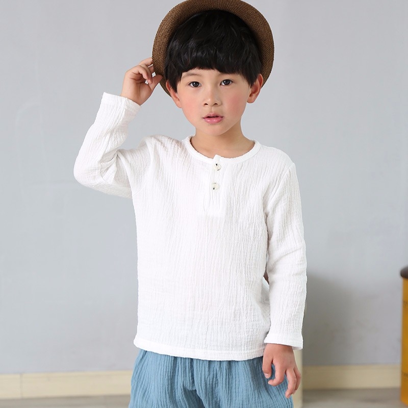 boys t shirt linen pleated solid color long sleeve boys tops children boys t-shirts autumn baby boys clothes for t-shirts stylish v neck batwing sleeve solid color pleated blouse for women