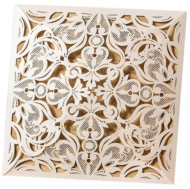 picture about Printable Sets called US $11.99 10 sets, Desain Floral putih potong Laser elegan, Undangan pernikahan, Printable kartu undangan, Pengiriman gratis romantis di Kartu