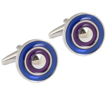New Style Blue round Cufflinks Men's Gifts Christmas Gifts For Men Silver Cuff Cufflink