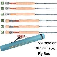 Maximumcatch V Traveler 9FT 5 8wt Fly Fishing Rod Graphite IM10 Carbon Fiber 7PCS Fast Action Travel Fly Rod