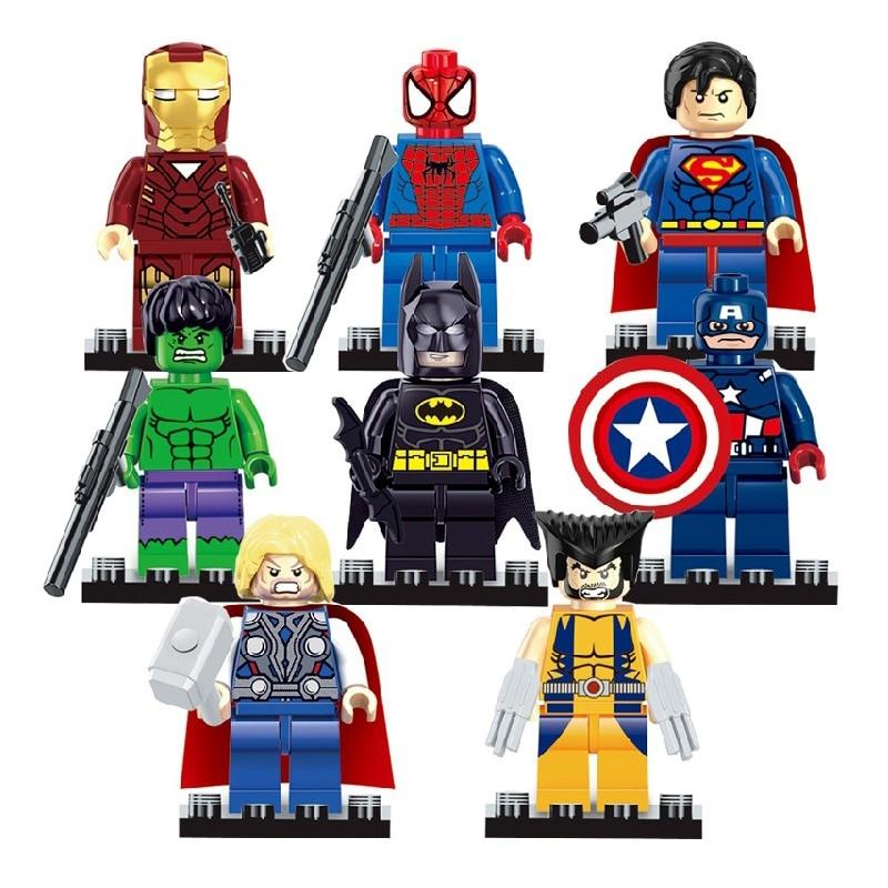 Compatible Legoe Pogo Marvel Spider Ironman Batman Hulk Wolverine Super Heroes Marvel Avengers Building Blocks Bricks Toys