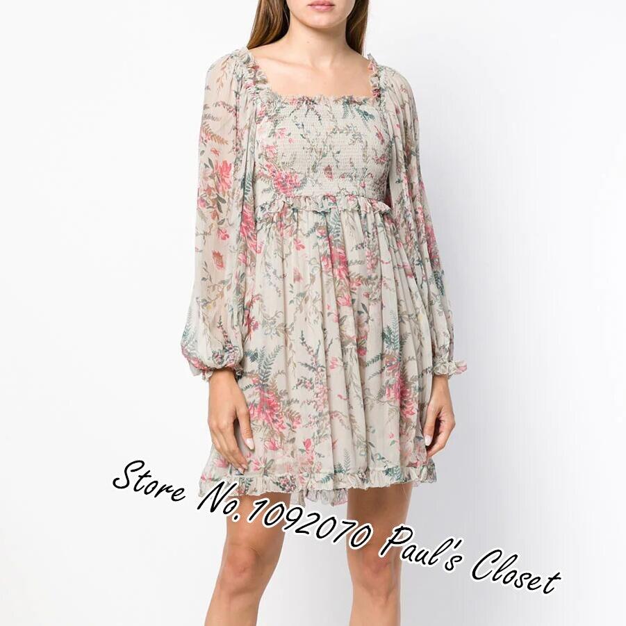 Women Square Neck Silver Bayou Shirred Mini Dress Beige and Pink Silk Floral Print Dress