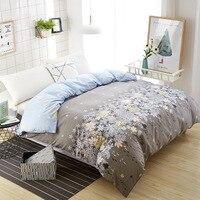 Ev ve Bahçe'ten Nevresim'de Ev tekstili çiçek nevresim takımı yeni geldi yatak yorgan örtüsü 150*200 cm tek ekstra yorgan kapakları otel gri çiçek çarşaf