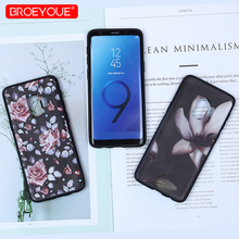 BROEYOUE Silicone Case For Galaxy S7 Edge J3 J5 J7 2016 2017 3D Relief Soft TPU Flower S8 S9 Plus A3 A5 A7