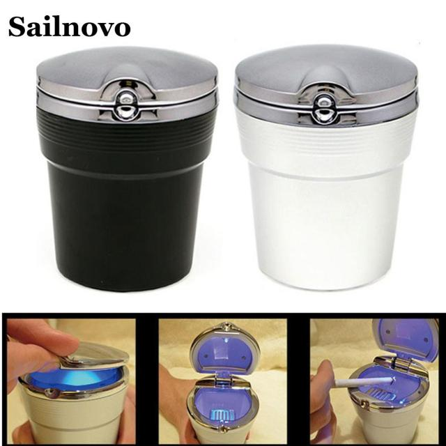 Car Ashtray with LED Light Cigarette Smoke Travel Remover Ash Cylinder Car Smokeless Smoke Cup Holder Storage Auto Accessories 4