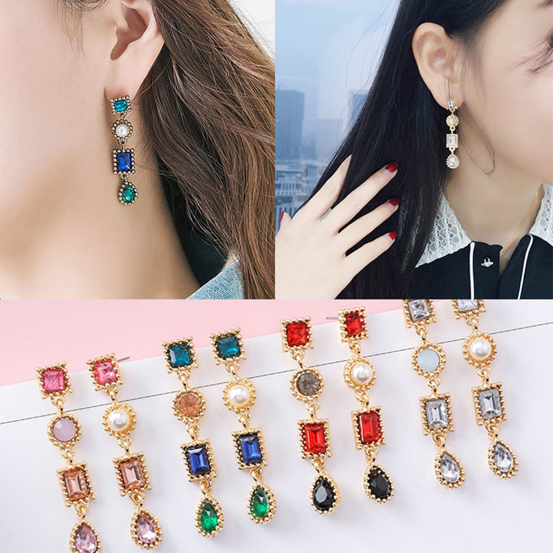 1 Pairs New Fashion Asymmetrical Luxury Multicolor Rhinestone Charm Pearl Long Earrings Jewelry Will Bring You Good Luck
