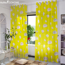 Conch Print 3D Tulle Curtains for Bedroom Modern Luxury For Living Room Yellow Window Voile Sheer Art