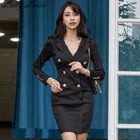 2018 Autumn Women Blazers Dress Office Double Breasted Notched Collar pencil Dress Casual black work Mini Bodycon Dress