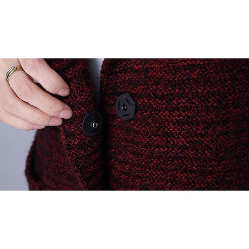 Chandail d'extérieur pour femmes 2019 nouveau hiver femme moyen-long cardigan épais à manches longues automne lâche maman tricoté manteau - 5
