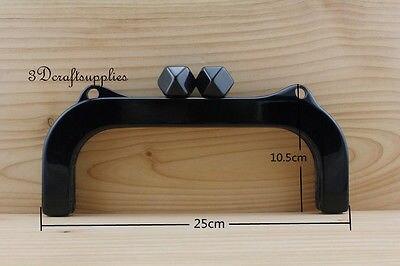 Purse frame 10 inch x 4 inch ( 25 cm x 10.5 cm ) black Acrylic Resin M91