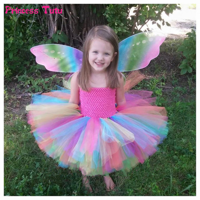 Colorful Flower Girl Tutu Dress Cute Tulle Princess Ball Gown For Girls Rainbow Fairy Dress Kids Baby Girl Birthday Party Dress цена