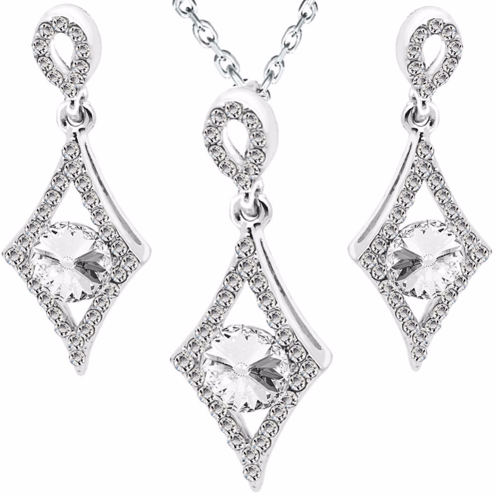 2017 New Arrival Wholesales factory price cheap Zircon silver Plated clover pendant necklace earrings fashion Jewelry Set 80210
