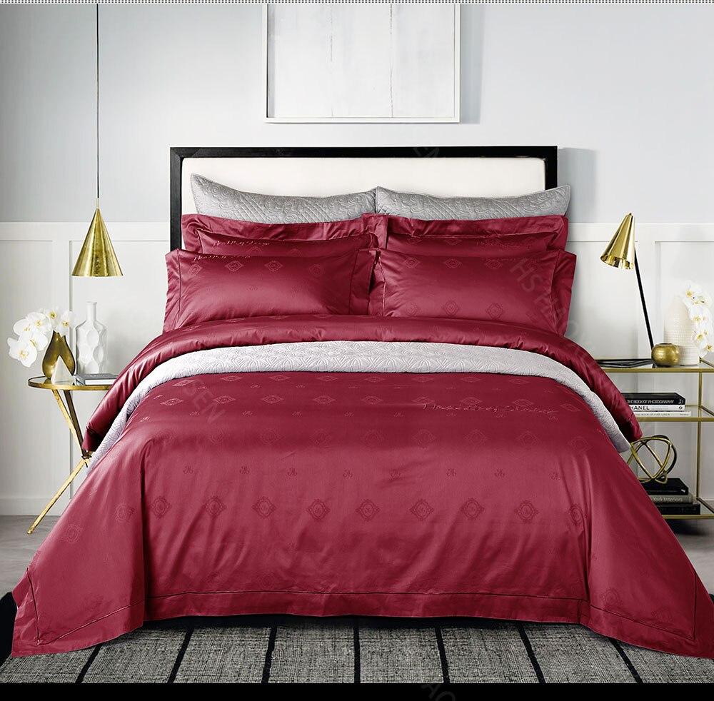 Hs 100s Luxurious Crimson Jacquard 4pcs Bedding Sets 100 Cotton High Density Duvet Cover Bed Sheets Set Queen King Linen