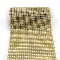 1 Yard Handmade Beaded Golden Rhinestone Trim Wedding Dress Rhinestones Trimming Crystal Applique Diamond Chain Accessories