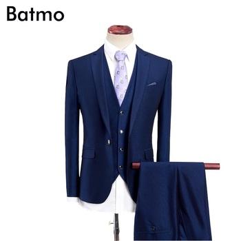 2019 garnitury ślubne mężczyzn blazer mężczyzn męskie garnitury biurowe męskie do sukni garnitury rozmiar S-4XL Slim garnitury ślubne męskie (kurtka + kamizelka + spodnie) tanie i dobre opinie Poliester Wiskoza COTTON REGULAR Pojedyncze piersi Mieszkanie Przycisk fly Proste Formalne QT2005-919 Batmo
