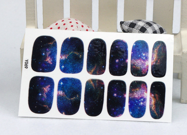 Y5069 Manicure 3D Decals Auto Adhesive Nail Art Stickers Dark Purple Galaxy Shine Figure Design Nail Wraps Stickers Decal