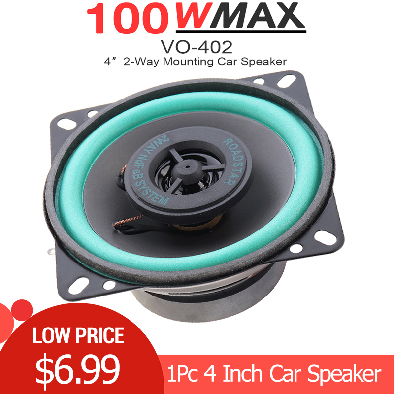 1pc 4 Inch 100W Car HiFi Coaxial Speaker Vehicle Door Auto Audio Music Stereo Full Range Frequency Speakers for Car Vehicle Auto