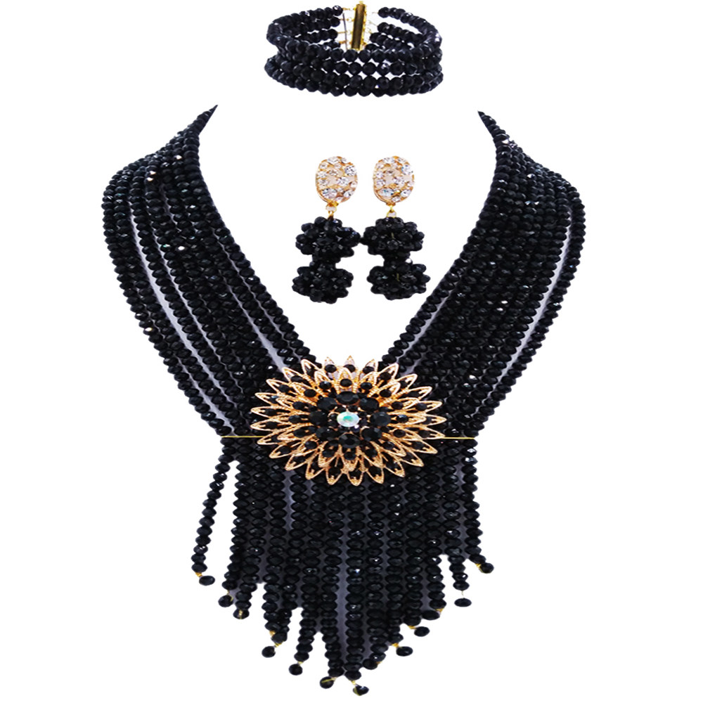 Fashion Black Costume African Jewelry Set Crystal Nigerian Beads Wedding Necklace Earrings Bridal Jewelry Sets for Women 8SK01Fashion Black Costume African Jewelry Set Crystal Nigerian Beads Wedding Necklace Earrings Bridal Jewelry Sets for Women 8SK01