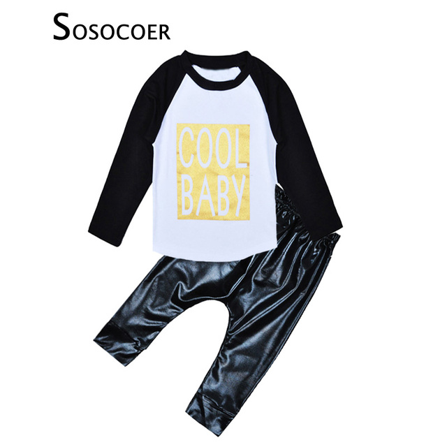 bfb67869d SOSOCOER Spring Baby Boys Clothing Sets Fashion Letter Cool Baby T ...