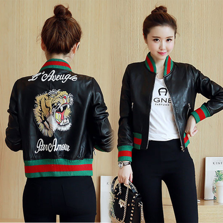 HRM Tiger embroidered jacket pu washed leather female leather printing machine wagon jacket