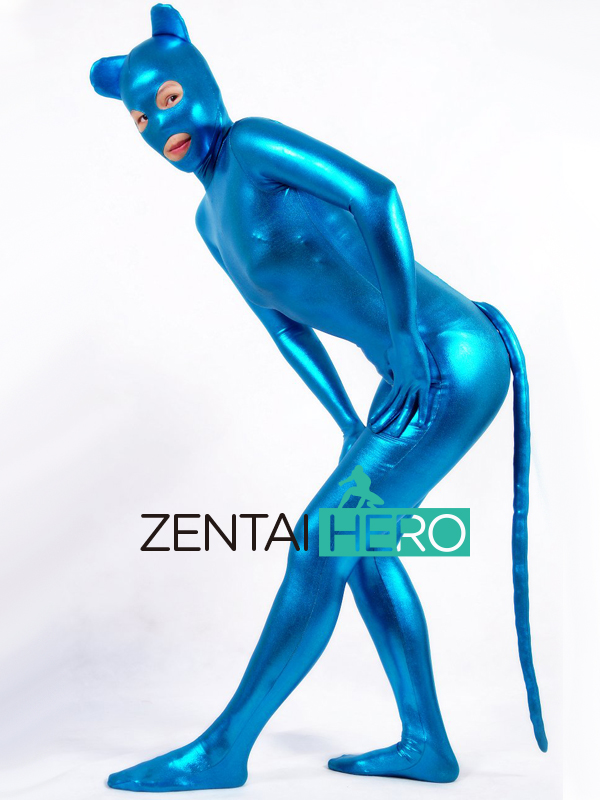 Free Shipping DHL Funny Unisex Fancy Dress Blue Shiny Metallic Animal Zentai Suit With Tail For Halloween Party Open Eyes AXM54