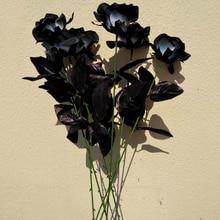 9 шт. искусственный высушенный цветок Черная роза букет имитация растения пластик искусственный цветок для свадьбы украшения реквизит для фотосессии