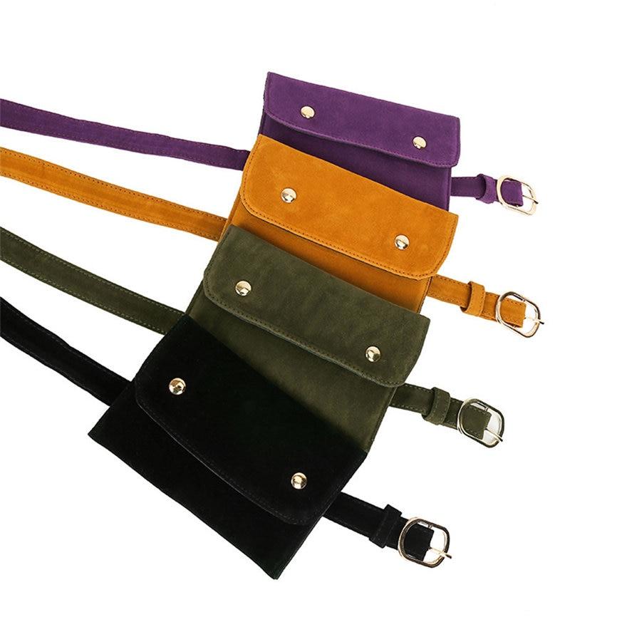 Fashion Women Pure Color Square Flock Messenger Bag Chest Bag Waist Bag Pure Color