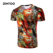 Fashion Men's Casual Round neck T-shirts Men's Cotton Slim Tops Male Summer Cotton Short Sleeve 3D Printed T-shirt Homme  ZM0181