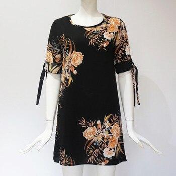 2019 Women Summer Dress Boho Style Floral Print Chiffon Beach Dress 5