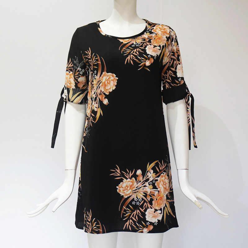 2020 女性の夏のドレスボヘミアンスタイル花柄シフォンビーチドレスチュニックサンドレス緩いミニパーティードレス Vestidos プラスサイズ 5XL
