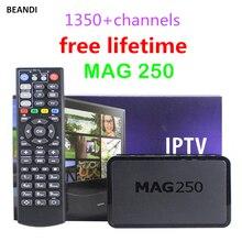 Caixa de iptv arábica livre da vida MAG250 1350 + Canais HD Suporte Inglês Francês Espanhol Alemão Itália Europa EUA Transporte Rápido