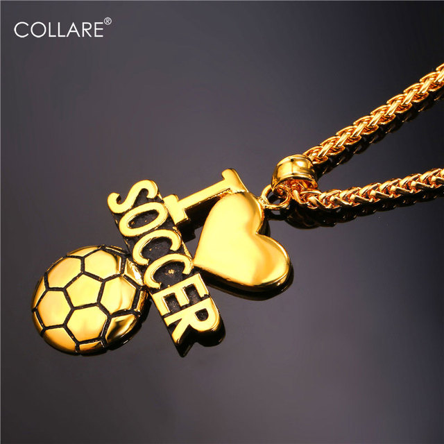 Collare ball soccer necklaces pendants gold color stainless collare ball soccer necklaces pendants gold color stainless steel bodybuilding love necklace sport fitness men mozeypictures Image collections