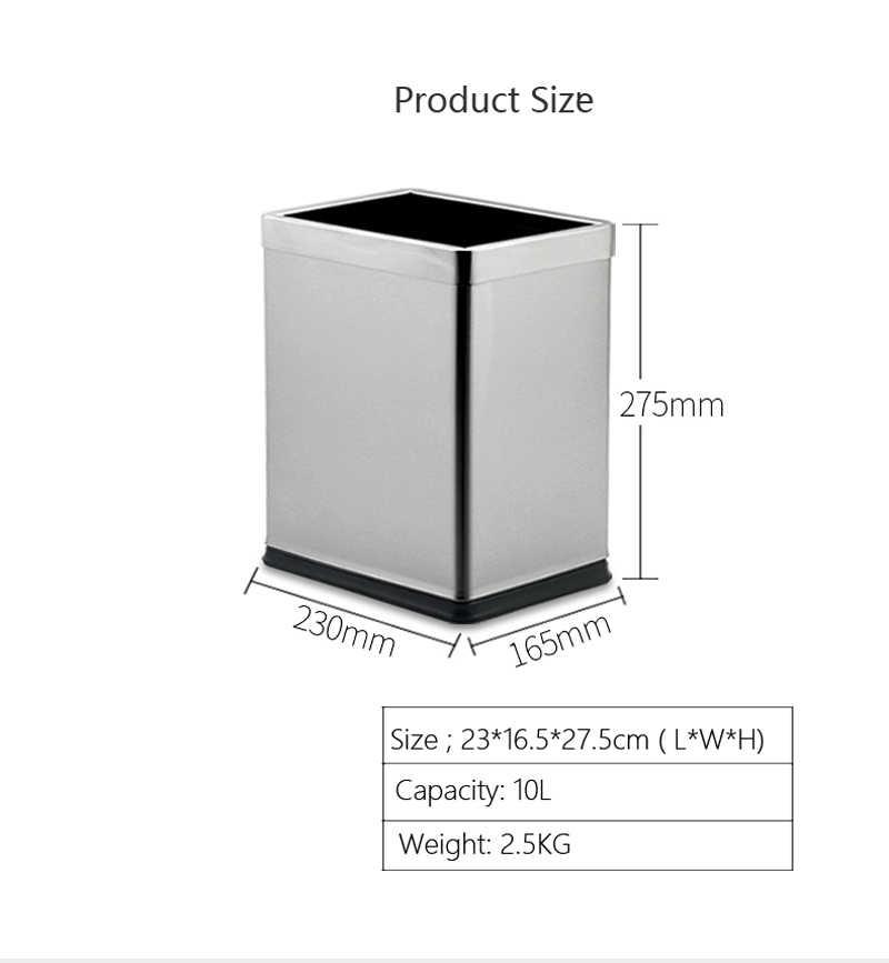 Aço inoxidável Lata de Lixo Swing Tampa Superior 10 Litro 15L Resíduos Bin Lixeira Dupla Latas De Lixo para Casa de Banho Cozinha hotel