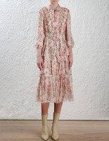 100% шелк рюшами платье миди с цветочным принтом Для женщин Окрашенные Сердце глупость галстук шеи с длинным рукавом Весна Длинные платья с п