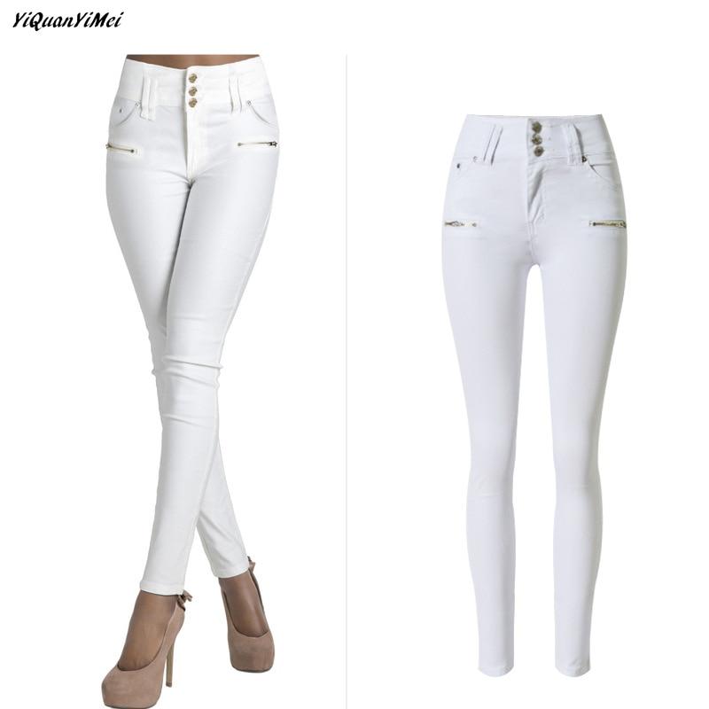 Yiquanyimei Moda Lapiz Pantalones Blanco Jeans Para Las Mujeres Skinny Alta Cintura Jeans Mujer Denim Pantalones Capris Jean Pantalon Femme Jeans For Women White Jeans For Womencapri Jeans Aliexpress