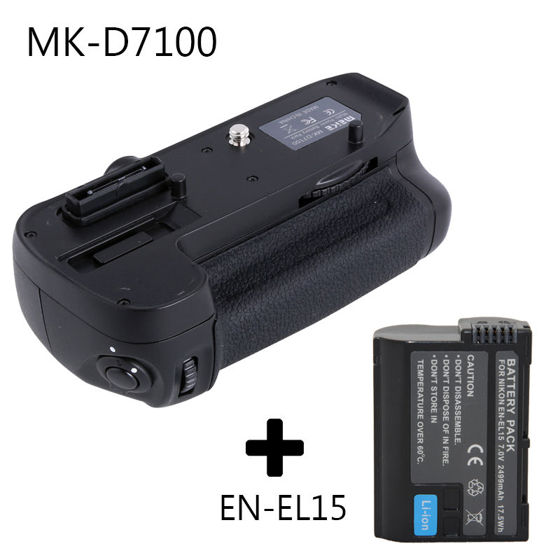 Meike Vertical Battery Grip Holder for Nikon D7100 D7200 as MB-D15 + EN-EL15 battery travor battery grip holder for nikon d7100 d7200 dslr camera replacement mb d15 1pcs en el15 li ion battery 2pcs lens cloth