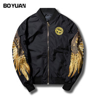 BOYUAN Tactical Jacket Windbreaker Men Spring Jacket For Men Sleeve Wing Embroidery Casual Fashion Mens Bomber