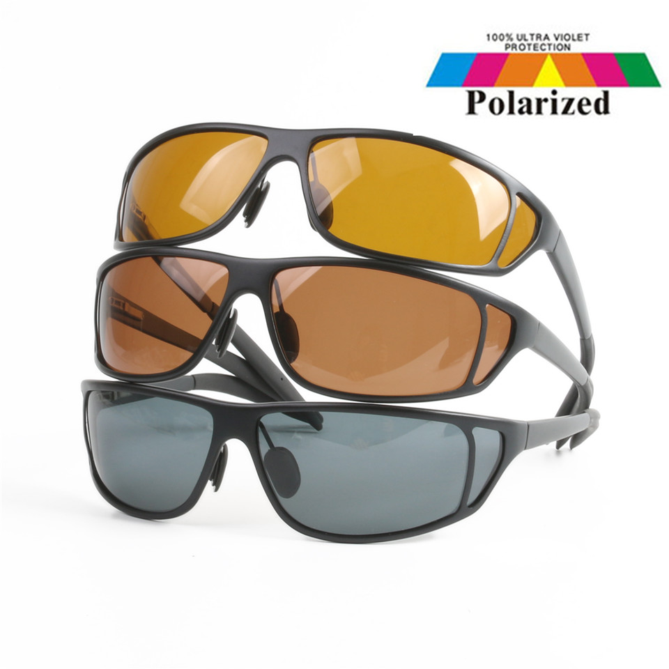 High Quality Titanium Metal Frame Fly Fishing Polarized Sunglasses Brown Yellow And Gray To Choose UV400 Fishing Sunglasses chic metal bar embellished full frame sunglasses for women