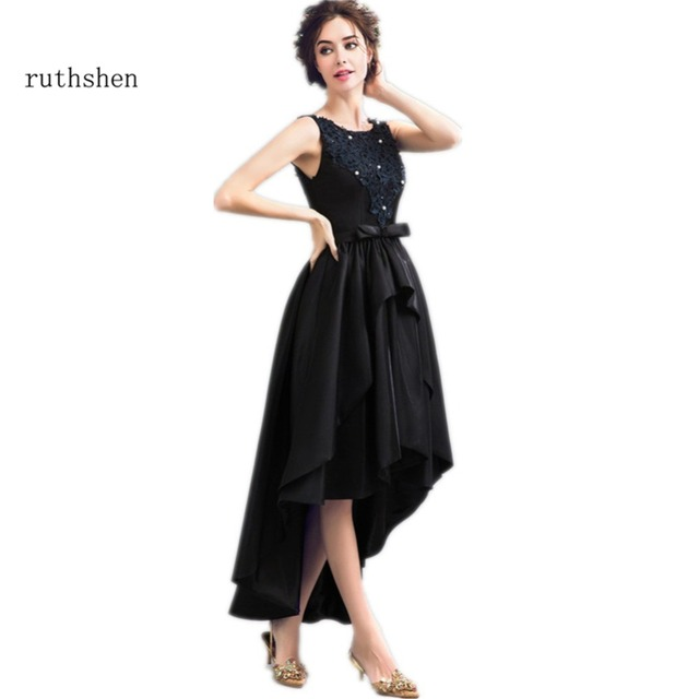 88eadeb4fb1 ruthshen Sexy High Low Prom Dresses 2018 Lace Appliques Beaded Black Short  Front Long Back Formal Party Evening Dress Gowns