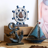 Mediterranean Vintage Anchor/Rudder/Sail Boat Crafts Figurine Creative Gift Home Accessories Restaurant Cafe Bar Party Ornaments