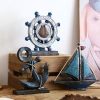 Mediterranean Vintage Anchor/Rudder/Sail Boat Crafts Figurine Creative Gift Home Accessories Restaurant Cafe Bar Party Ornaments