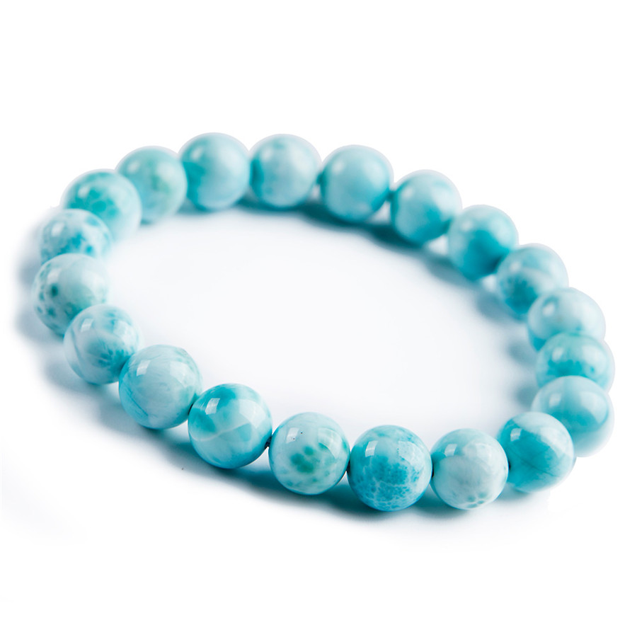 10mm Fashion Natural Genuine Blue Larimar Stone Crystal Stretch Round Beads Bracelet10mm Fashion Natural Genuine Blue Larimar Stone Crystal Stretch Round Beads Bracelet