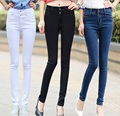 2016 new arrivals White high waist women jeans female trousers Korean slim pencil pants stretch pants Denim Pants Trousers