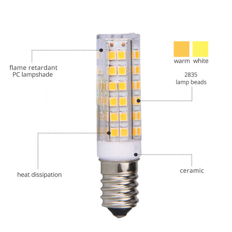При заказе 1-10 штук E14 светодиодный свет лампы 5 Вт, 7 Вт, 9 Вт, 12 Вт, 15 Вт AC220V 230 V SMD2835 Керамика лампы заменить галогенные для хрустальной люстры на холодильник