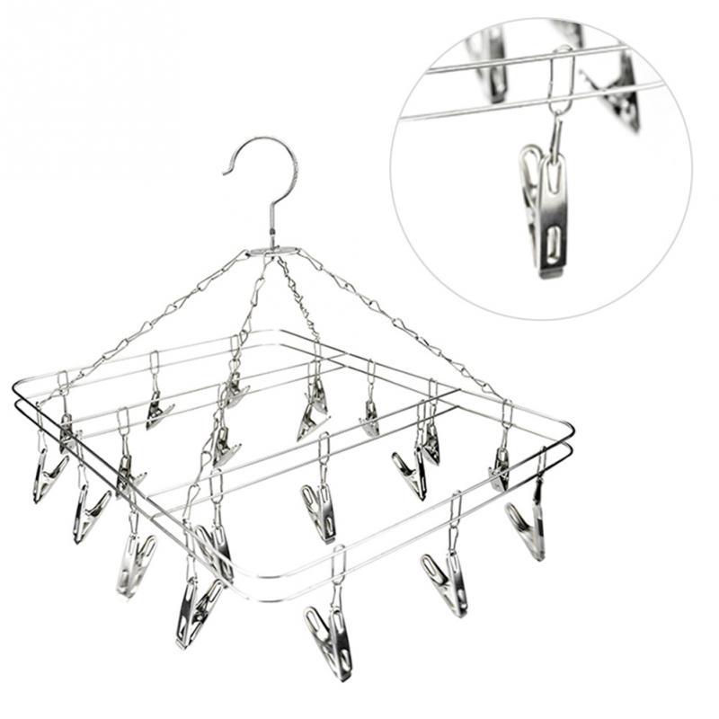 20 Aluminum Metal Sock Underwear Clothes Clip Outdoor Airer Dryer Laundry Hanger Stainless Steel Square Wire Clips Rack line art