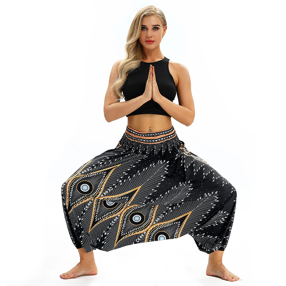 Women Men Pants Casual Woman High Waist Wide Leg Harem Trousers Baggy Boho Loose Aladdin Festival Hippy Jumpsuit Print Lady pant 67